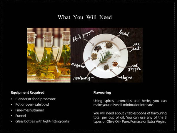 Infusing Olive Oil requirements